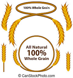 An image of a one hundred percent whole grain wheat grain set.