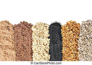 Whole grains, oats, flax, poppy, wheatgerm, granola, ...