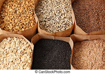 Whole grains, oats, flax, poppy, wheatgerm, granola,...