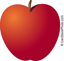Whole red apple isometric illustration color gradient