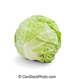 Whole Green Cabbage on white background