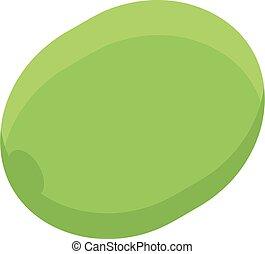 Whole green olive icon, isometric style