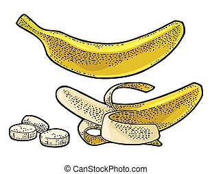 Whole, half peeled and slice banana. Vector black vintage engraving