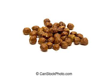 Whole hazelnuts, isolated on a white background for you lifestyle