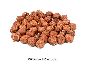Whole hazelnuts, isolated on a white background