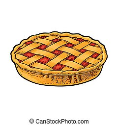 Whole homemade apple pie. Vector black vintage engraving