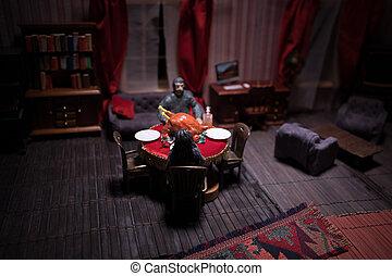 Whole Homemade Thanksgiving Turkey. Thanksgiving Turkey miniature on table. Selective focus