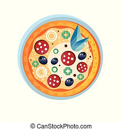 Whole hot delicious pizza with salami, onion, olives and basil leaves vector Illustration on a white background