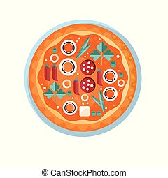 Whole hot delicious pizza with salami, onion, parsley, cheese and red pepper vector Illustration on a white background