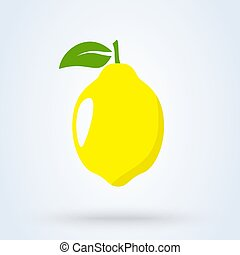 Whole lemon with leaves. Simple vector modern design illustration.