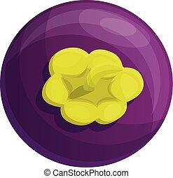 Whole mangosteen icon, cartoon style