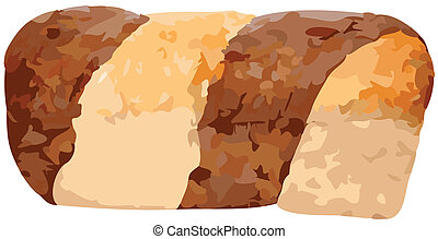 Whole Marble Rye Loaf Vector Illust