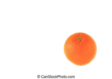 whole orange on the white background