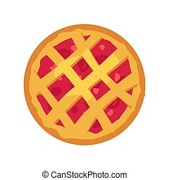 Whole Pastry Pie with Fuitty Filling, Vector Card