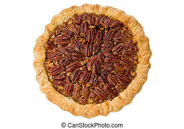 Whole pecan pie against a white background.