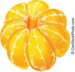 Whole peeled mandarin isolated on white background.