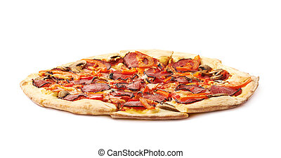 Whole pepperoni pizza isolated over the white background