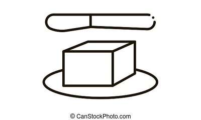 whole piece of butter and knife Icon Animation. black whole piece of butter and knife animated icon on white background