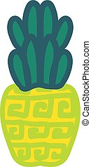 Whole pineapple hand drawn vector illustration