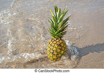 pineapple in beach sand with splashing water