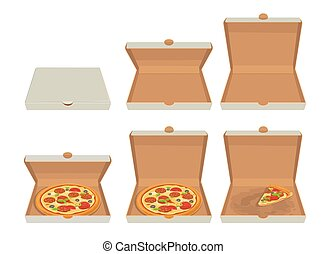 Whole pizza and slices of pizza in closed and open white box. Isolated vector flat illustration for poster, menus, logotype, brochure, web and icon.
