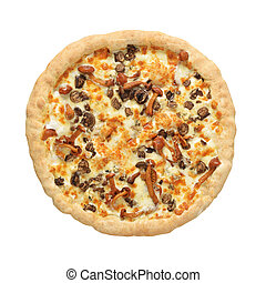 Whole pizza with honey mushrooms isolated on white.