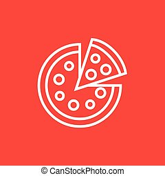 Whole pizza with slice line icon.