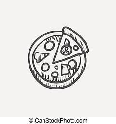 Whole pizza with slice sketch icon