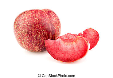 Whole pluot fruit with delicious juicy slices on white