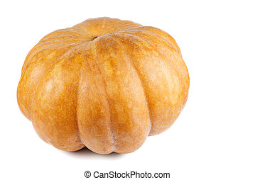 Whole pumpkin isolated on white background