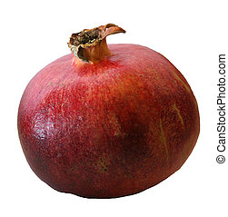 whole red ripe pomegranates just collected from the...