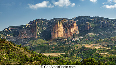 Whole Riglos Mallets, rocks and town