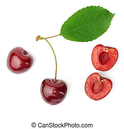 whole ripe red juicy sweet cherries and halves with pits