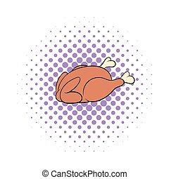 Whole roast chicken icon, comics style