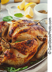 Whole roasted turkey or chicken for Thanksgiving or Christmas.