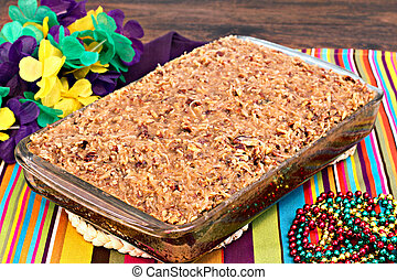 Whole sheetcake of a cajun cake with praline topping - Full...