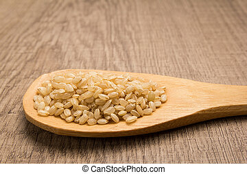 Whole Short Grain Rice Seed. Grains in wooden spoon. Rustic.