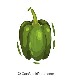 Whole sweet pepper. Vector illustration on white background.