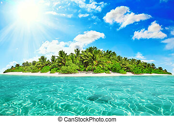 Whole tropical island within atoll in tropical Ocean on a ...