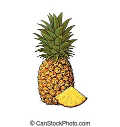 Whole, unpeeled, uncut, vertical pineapple and wedge formed slice