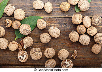 Whole walnuts scattered