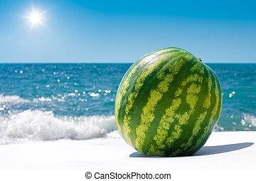 Whole watermelon near sea outdoor in sunny day