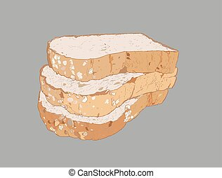 whole wheat bread , multi grain bread, sketch vector.