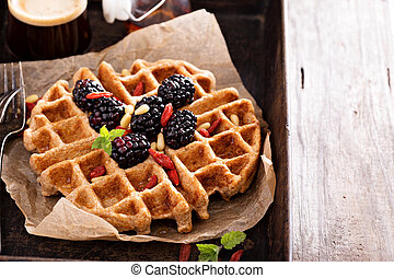 Whole wheat breakfast waffle