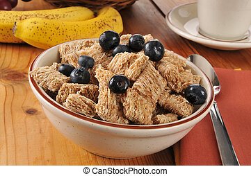 Whole wheat cereal with blueberries