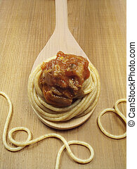Whole Wheat Pasta on Spoon with Sauce
