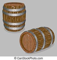 whole wood barrel - Vector illustration logo for whole wood...