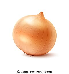 Whole Yellow Onion Bulb on White Background