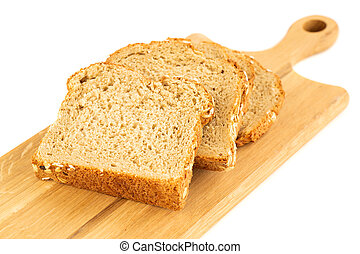 Wholegrain bread bun with oat on wooden board on white background.