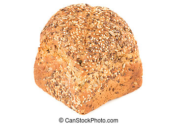 Wholegrain bread bun with seeds isolated on white background.